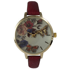 Olivia Pratt Womens Gold-Tone Butterfly And Flowers Print Dial Red Leather Strap Watch 14962