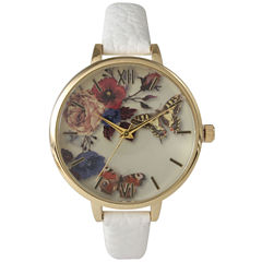 Olivia Pratt Womens Gold-Tone Butterfly And Flowers Print Dial White Leather Strap Watch 14962