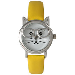 Olivia Pratt Womens Silver-Tone Ears And Glasses White Cat Face Print Dial Yellow Faux Leather Strap Watch 15097