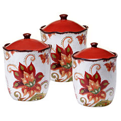Certified International Spice Flowers 3-pc. Canister Set
