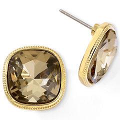 Monet® Brown Stone Button Earrings