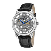 Stührling® Original Mens Silver-Tone Dial Croc-Look Strap Automatic Watch