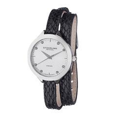 Stührling® Original Womens Diamond-Accent Black Leather Wrap Watch