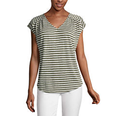 Liz Claiborne Short Sleeve V Neck T-Shirt-Womens
