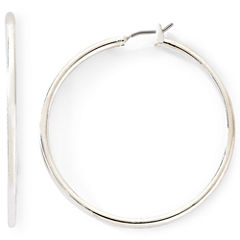 Monet® Silver-Tone Thin Large Hoop Earrings