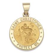 14K Yellow Gold Saint Christopher Medal Charm Pendant