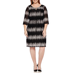 Studio 1® 3/4-Sleeve Mesh Tie Fit-and-Flare Dress - Plus