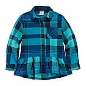 Arizona Long-Sleeve Peplum Plaid Top - Toddler Girls 2t-5t