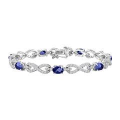 Womens 7 1/2 Inch Blue Sapphire Sterling Silver Chain Bracelet