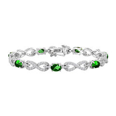 Womens 7 1/2 Inch Green Emerald Sterling Silver Chain Bracelet