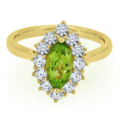 Womens Genuine Green Peridot Gold Over Silver Cocktail Ring