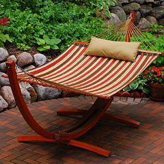 12-Foot Quilted With Wooden Arc Frame 3-Pc. Set Hammock