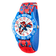 Marvel Boys Blue And Red Ultimate Spiderman Time Teacher Plastic Strap Watch W003233