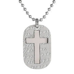 Mens Stainless Steel Cross Dog Tag Pendant Necklace