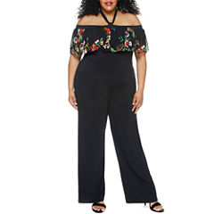 Fashion To Figure Cecilia Mesh Sleeve Off Shoulder Jumpsuit-Plus