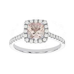 Blooming Bridal Genuine Cushion-Cut Morganite and Diamond 14K White Gold Ring