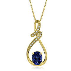 Lab Created Blue & White Sapphire 14K Gold Over Silver Pendant