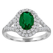 Lab Created Emerald & White Sapphire Sterling Silver Ring