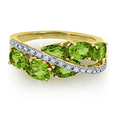 Genuine Peridot And Lab Created White Sapphire 14K Gold Over Silver Ring