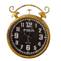 Distressed Yellow Paris Wall Clock