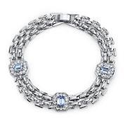 1928® Jewelry Crystal and Light Blue Stone Line Bracelet