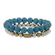 Dee Berkley Mens Genuine Turquoise and Pyrite Stretch Bracelets