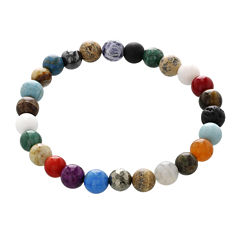Dee Berkley Mens Genuine Multi Jade Stretch Bracelet