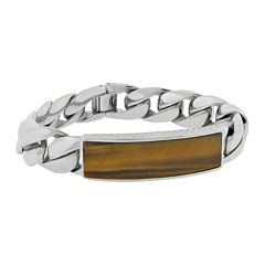 Mens Genuine Tiger's Eye Stainless Steel ID Bracelet