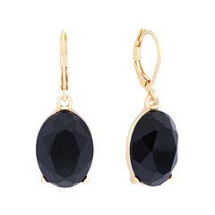 Monet® Black Stone Gold-Tone Drop Earrings