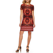 London Times Short-Sleeve Circle Print Shift Dress
