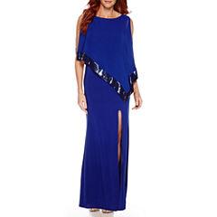 R&M Richards Sequin-Trim Formal Cape Gown