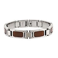 Mens Tiger'S Eye Stainless Steel Chain Bracelet