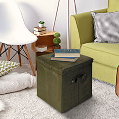 Cushioned Fold-Up Storage Ottoman