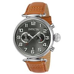 Invicta Aviator Mens Brown Strap Watch-22980
