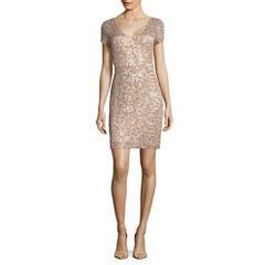 Blu Sage Short Sleeve Sheath Dress-Petites
