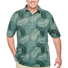 Van Heusen Short Sleeve Leaf Print Polo Short Sleeve Leaf Knit Polo Shirt Big and Tall