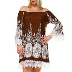 White Mark Mya Bordered Sheath Dress-Plus