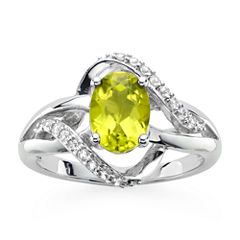 Genuine Peridot And Lab Created White Sapphire Sterling Silver Ring