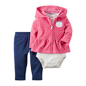Carter's® 3-pc. Bodysuit, Cardigan & Pants Set - Baby Girls newborn-24m
