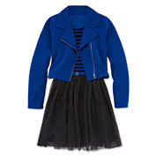 Total Girl® 2-pc. Striped Belted Skater Dress with Moto Jacket - Girls 7-16