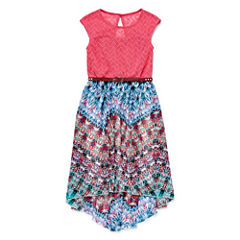 Speechless® Multi Aztec Lace Chiffon High-Low-Hem Dress - Girls 7-16
