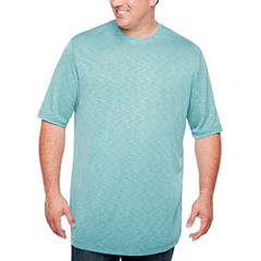 Van Heusen Short Sleeve Two-Tone Slub Crew Doubler Short Sleeve Crew Neck T-Shirt-Big and Tall