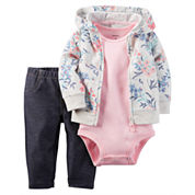Carter's® 3-pc. Floral Cardigan and Pants Set - Baby Girls newborn-24m