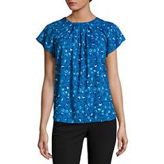 Worthington Short Sleeve Round Neck Floral T-Shirt-Womens Petites