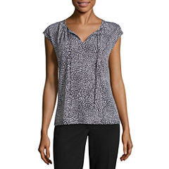 Liz Claiborne Cap Sleeve Tie Neck Knit Top