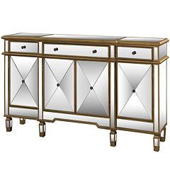 Zara Mirrored 4-Door Console Table