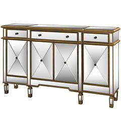 Zara Mirrored 4-Door Console Table