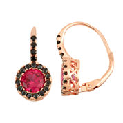 Lab-Created Ruby & Genuine Black Spinel 14K Rose Gold Over Silver Leverback Earrings