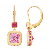 Lab-Created Pink Sapphire & Ruby 14K Gold Over Silver Leverback Earrings