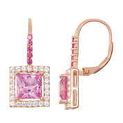 Lab-Created Pink Sapphire & Ruby 14K Rose Gold Over Silver Leverback Earrings